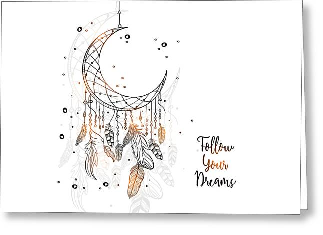 Follow Your Dreamcatcher - Boho Chic Ethnic Nursery Art Poster Print Greeting Card