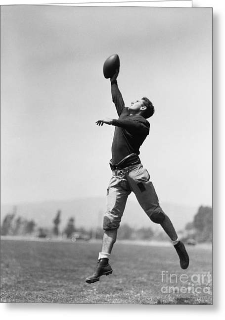 Football Player Catching Ball Greeting Card
