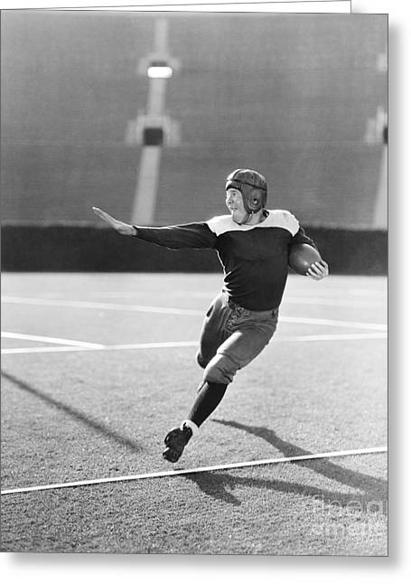 Football Player Running With Ball Greeting Card