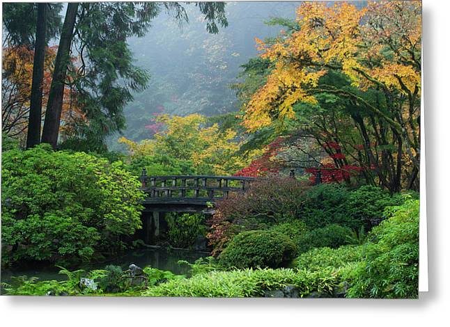 Footbridge In Japanese Garden Greeting Card