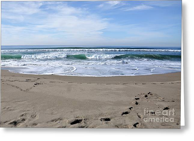 Footprints By The Sea Greeting Card