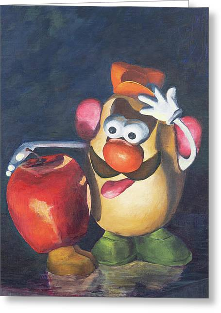 Greeting Card featuring the painting Forbidden Fruit by Nancy Strahinic