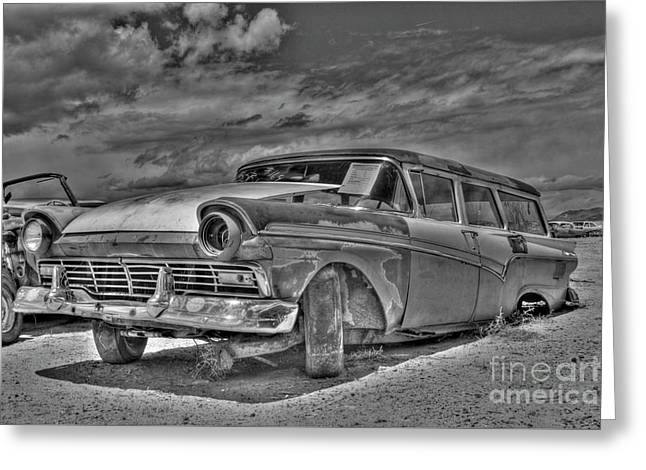 Ford Country Squire Wagon - Bw Greeting Card