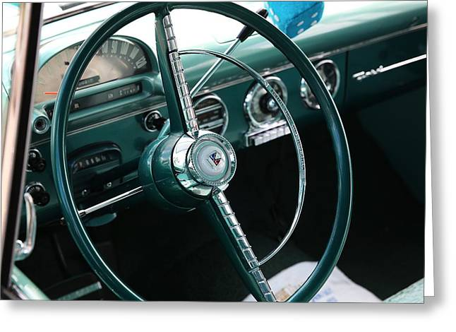 Greeting Card featuring the photograph 1955 Ford Fairlane Steering Wheel by Debi Dalio