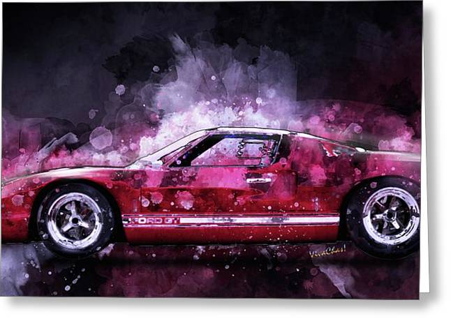 Ford Gt 40 Night Moves Greeting Card