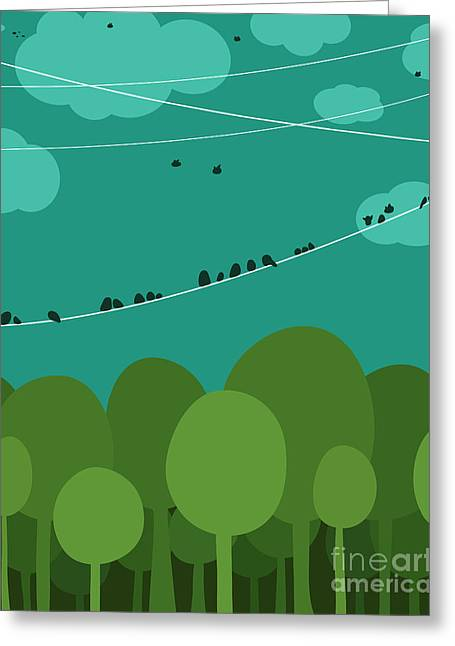 Forest And Birds Sitting On Wires Greeting Card