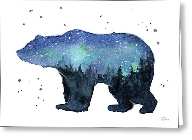 Forest Bear Watercolor Galaxy Greeting Card