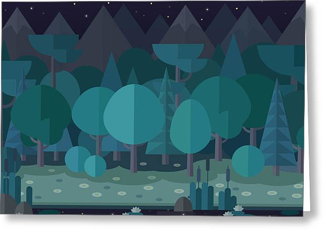 Forest Landscape In A Flat Style In The Greeting Card