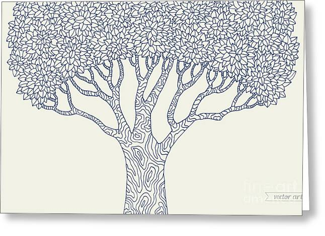 Forest Oak Tree Isolated. Vector Botany Greeting Card