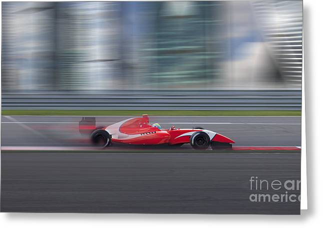Formula 2.0 Race Car Racing At High Greeting Card