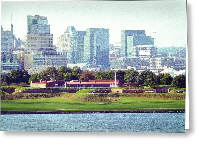 Greeting Card featuring the photograph Fort Mchenry With Baltimore Background by Bill Swartwout Fine Art Photography