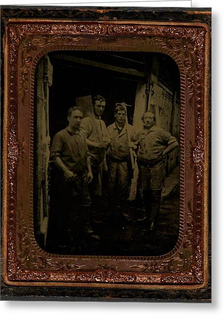 Four Men With Tools  Ca  1860 Ambrotype Greeting Card