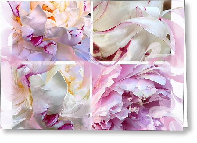 Greeting Card featuring the digital art Four Peonies  by Cindy Greenstein