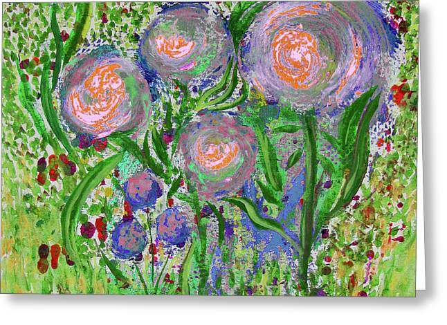 Four Pink Flowers In Green Greeting Card