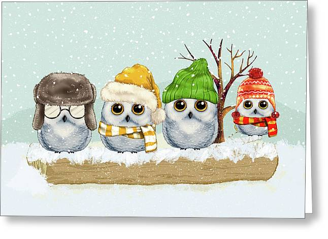 Four Winter Owls Greeting Card