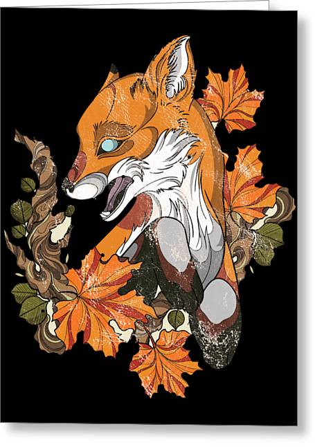 Fox Distressed Style Carnivorous Foxed Foxing Foxes Mammal Wildlife Animal Gift Greeting Card