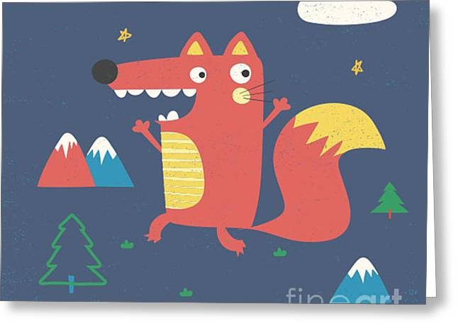 Fox Illustration With Slogan For Kids Greeting Card