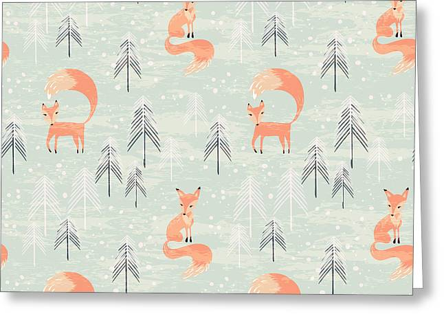 Fox In Winter Pine Forest. Seamless Greeting Card