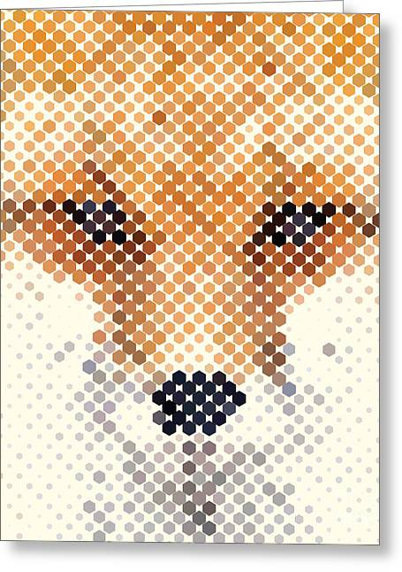 Fox Portrait Made Of Geometrical Shapes Greeting Card