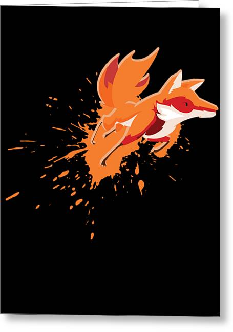 Fox Splatter Canidae Carnivore Canine Mammal Animals Wildlife Gift Greeting Card