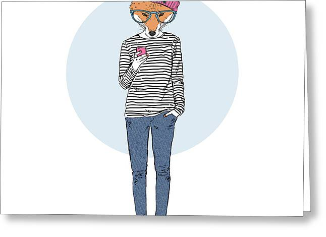 Fox Teen Girl Dressed Up In Urban Style Greeting Card