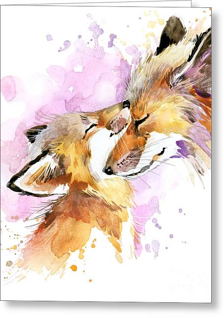 Fox Watercolor Illustration. Mothers Greeting Card