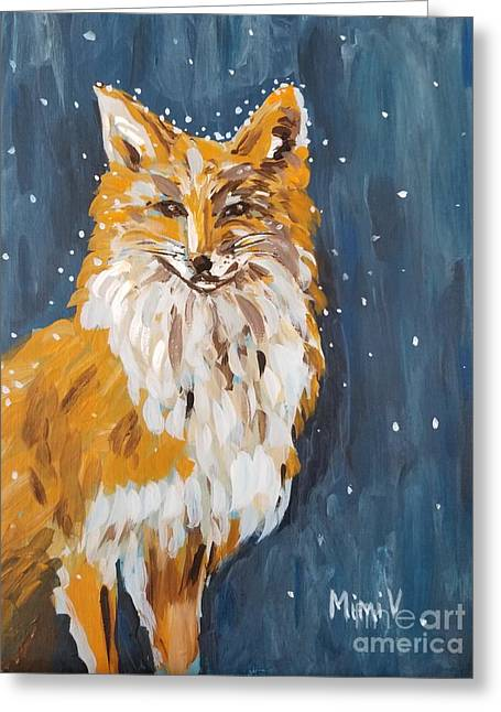 Greeting Card featuring the painting Fox Winter Night by Maria Langgle