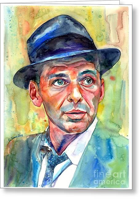 Frank Sinatra Wearing A Fedora Greeting Card