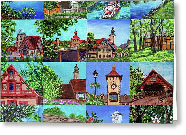 Frankenmuth Downtown Michigan Painting Collage I Greeting Card