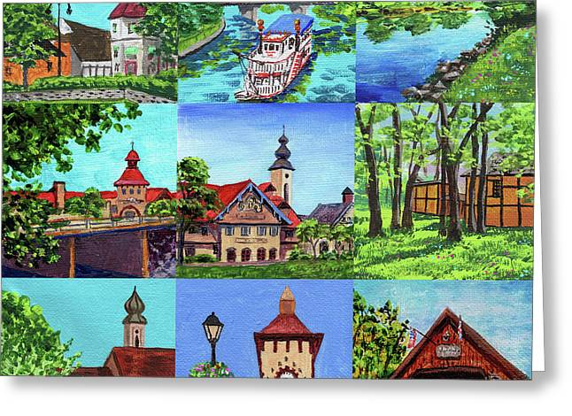 Frankenmuth Downtown Michigan Painting Collage IIi Greeting Card