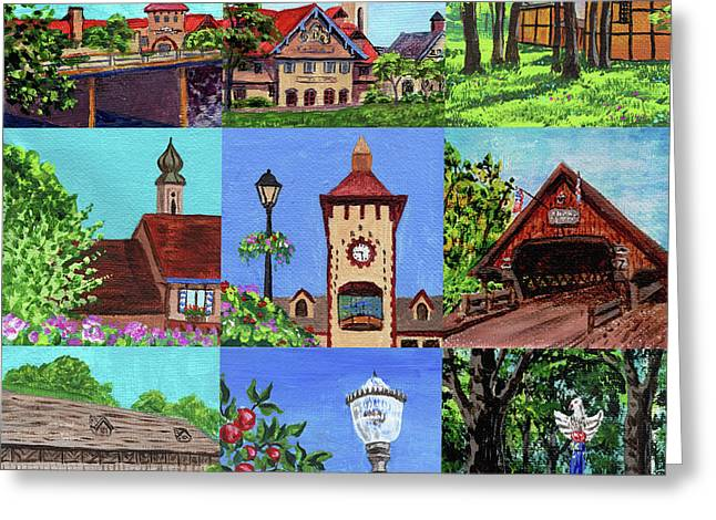 Frankenmuth Downtown Michigan Painting Collage Iv Greeting Card