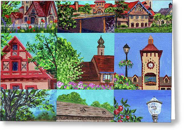 Frankenmuth Downtown Michigan Painting Collage V Greeting Card