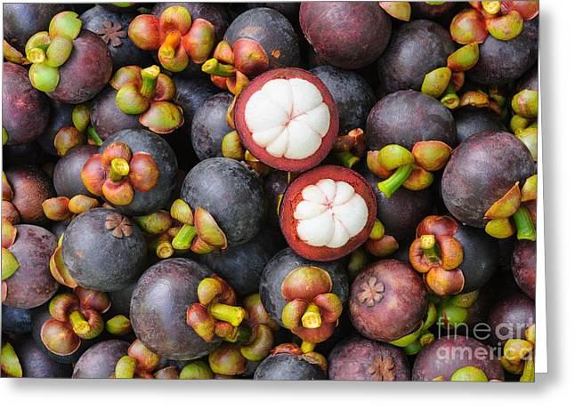Fresh Organic Mangosteen Thai Fruit In Greeting Card