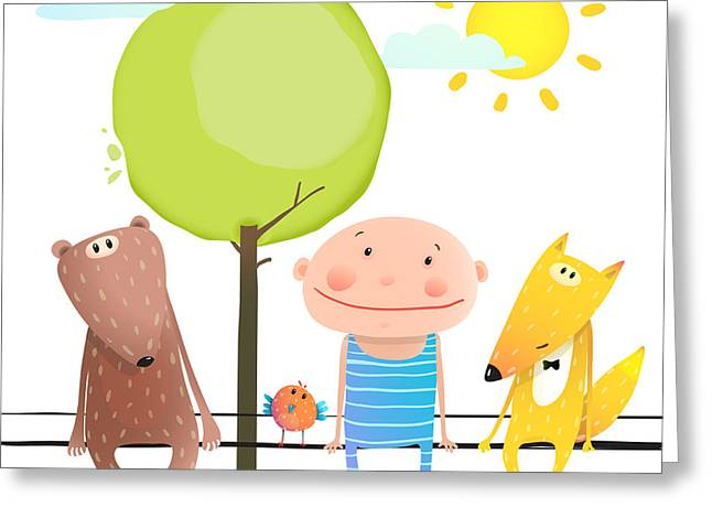 Friendly Animals And Kid Cute Funny Greeting Card