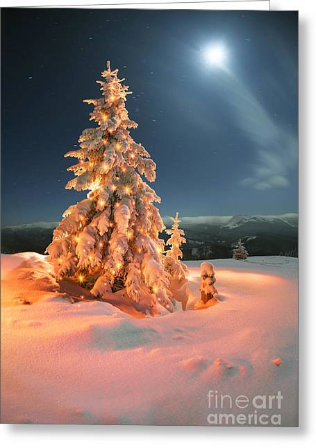 Frosty Winter Night Of Christening - Greeting Card
