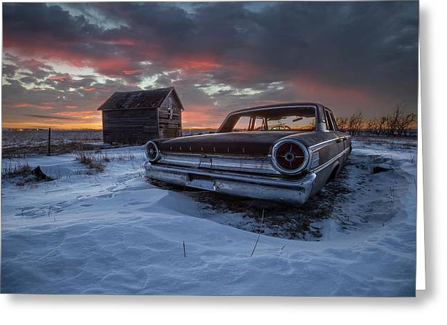 Greeting Card featuring the photograph Frozen Galaxie 500  by Aaron J Groen