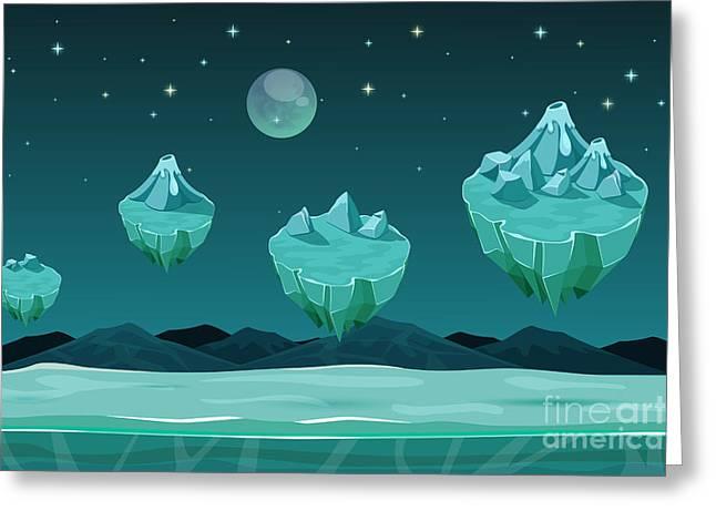 Frozen Game Planet Horizontal Greeting Card