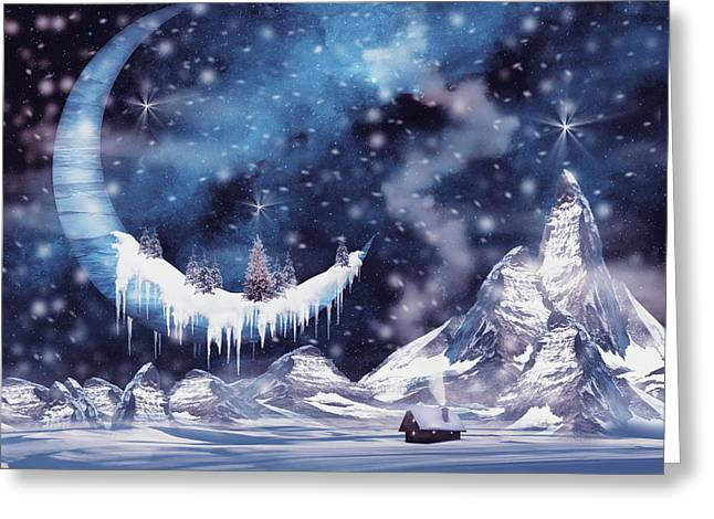 Frozen Moon Greeting Card