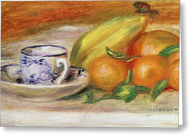 Fruit With Cup And Saucer, Circa 1913 Greeting Card