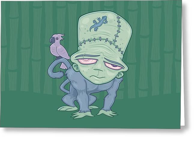 Frunkee - Frankenstein Monkey Creature Greeting Card