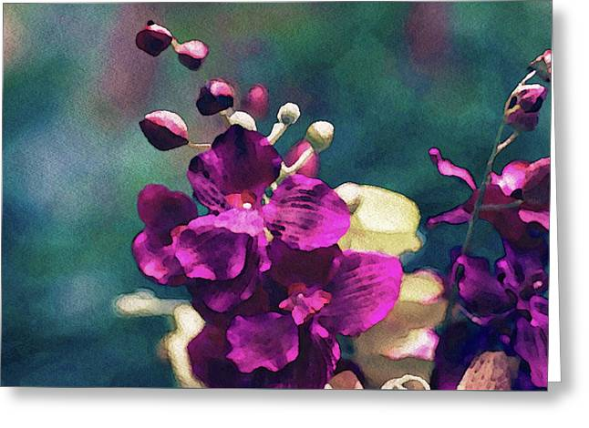 Greeting Card featuring the mixed media Fuchsia Pink Vanda Orchid by Susan Maxwell Schmidt