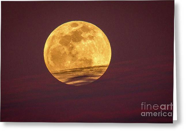 Full Moon Above Clouds Greeting Card