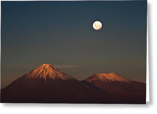 Full-moon In The Moon Valley. Volcanoes Greeting Card