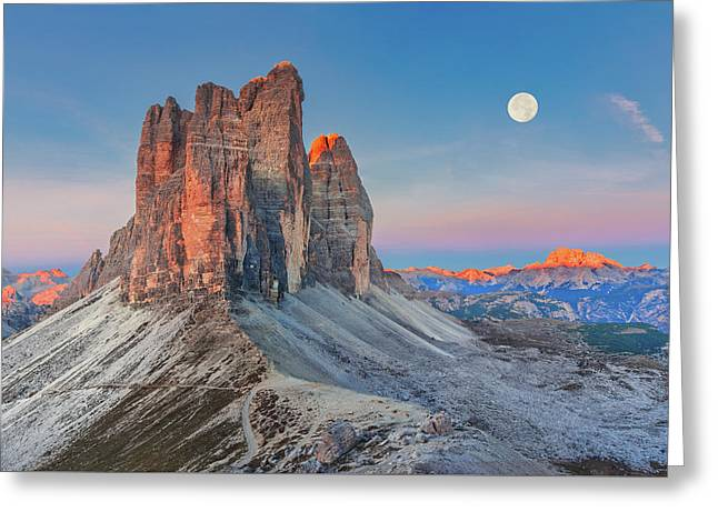 Greeting Card featuring the photograph Full Moon Morning On Tre Cime Di Lavaredo by Dmytro Korol