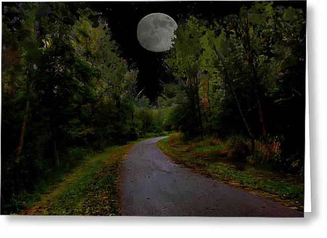 Full Moon Over Forest Trail Greeting Card by Cedric Hampton