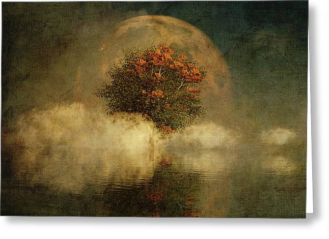 Full Moon Over Misty Water Greeting Card