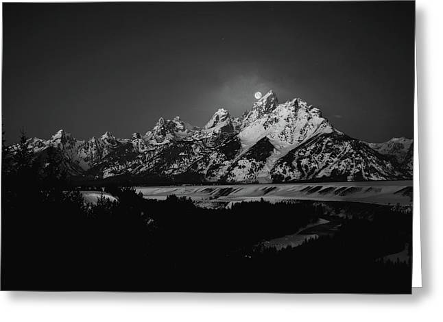 Full Moon Sets In The Tetons Greeting Card
