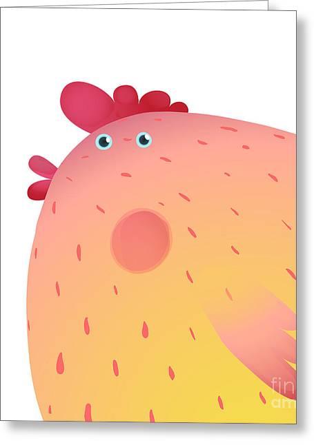Fun Colorful Chicken Bird Background Greeting Card