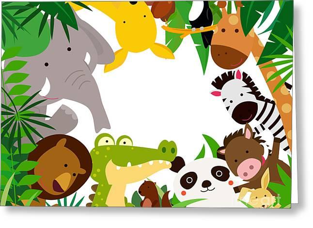 Fun Jungle Animals Border Greeting Card