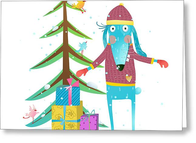 Fun Winter Holiday Rabbit For Kids With Greeting Card